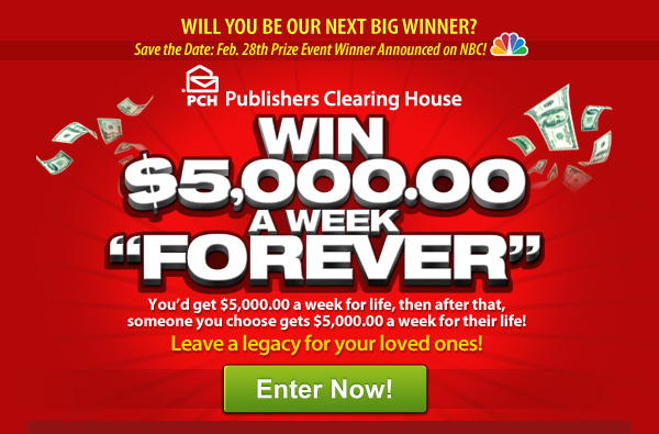 Win One Million Plus Five Thousand A Week For Life!